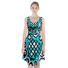 Cyan High Art Abstraction Racerback Midi Dress