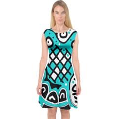 Cyan High Art Abstraction Capsleeve Midi Dress