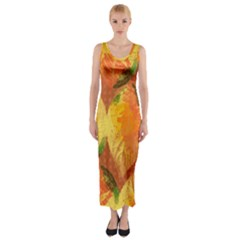 Fall Colors Leaves Pattern Fitted Maxi Dress