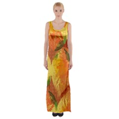 Fall Colors Leaves Pattern Maxi Thigh Split Dress