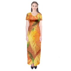 Fall Colors Leaves Pattern Short Sleeve Maxi Dress