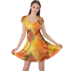 Fall Colors Leaves Pattern Cap Sleeve Dress