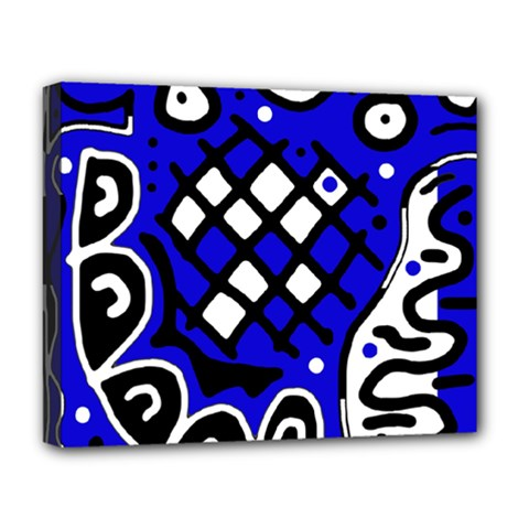 Blue high art abstraction Deluxe Canvas 20  x 16