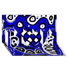 Blue high art abstraction MOM 3D Greeting Card (8x4)