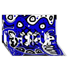 Blue high art abstraction BELIEVE 3D Greeting Card (8x4)