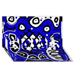 Blue high art abstraction ENGAGED 3D Greeting Card (8x4)