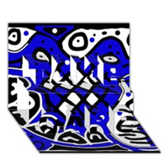 Blue high art abstraction TAKE CARE 3D Greeting Card (7x5)
