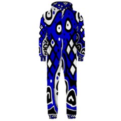Blue high art abstraction Hooded Jumpsuit (Men)