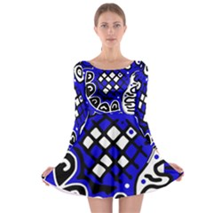 Blue high art abstraction Long Sleeve Skater Dress