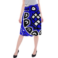 Blue High Art Abstraction Midi Beach Skirt