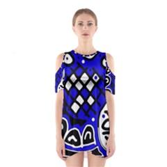 Blue high art abstraction Cutout Shoulder Dress