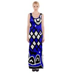 Blue High Art Abstraction Maxi Thigh Split Dress