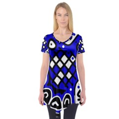Blue high art abstraction Short Sleeve Tunic