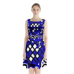 Blue high art abstraction Sleeveless Waist Tie Dress