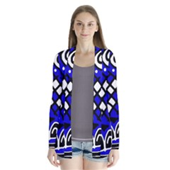Blue High Art Abstraction Drape Collar Cardigan