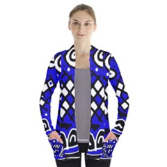 Blue high art abstraction Women s Open Front Pockets Cardigan(P194)