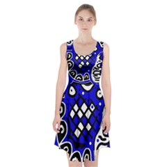 Blue High Art Abstraction Racerback Midi Dress
