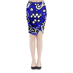 Blue high art abstraction Midi Wrap Pencil Skirt