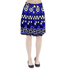 Blue high art abstraction Pleated Skirt