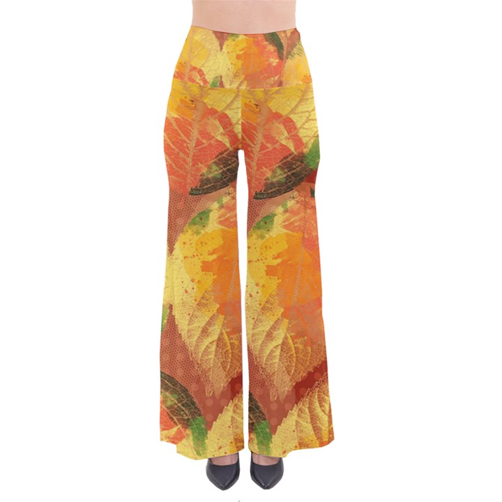 Fall Colors Leaves Pattern Women s Chic Palazzo Pants