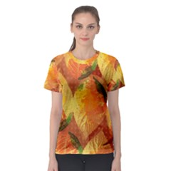 Fall Colors Leaves Pattern Women s Sport Mesh Tee