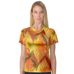 Fall Colors Leaves Pattern Women s V Neck Sport Mesh Tee
