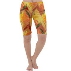 Fall Colors Leaves Pattern Cropped Leggings