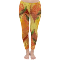 Fall Colors Leaves Pattern Winter Leggings