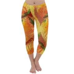 Fall Colors Leaves Pattern Capri Winter Leggings