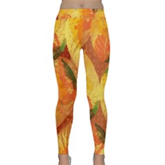 Fall Colors Leaves Pattern Yoga Leggings