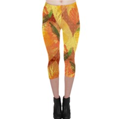 Fall Colors Leaves Pattern Capri Leggings