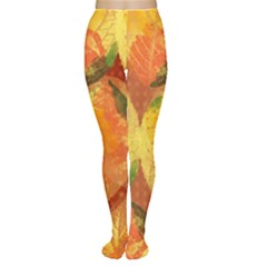 Fall Colors Leaves Pattern Tights