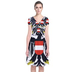 Coat Of Arms Of Austria Short Sleeve Front Wrap Dress