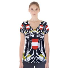 Coat Of Arms Of Austria Short Sleeve Front Detail Top