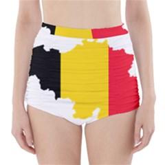 Belgium Flag Map High Waisted Bikini Bottoms