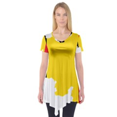Belgium Flag Map Short Sleeve Tunic