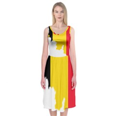 Belgium Flag Map Midi Sleeveless Dress