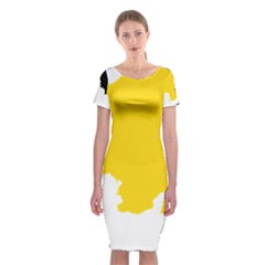 Belgium Flag Map Classic Short Sleeve Midi Dress