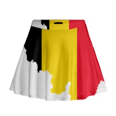 Belgium Flag Map Mini Flare Skirt