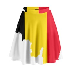 Belgium Flag Map High Waist Skirt