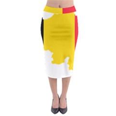 Belgium Flag Map Midi Pencil Skirt
