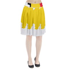 Belgium Flag Map Pleated Skirt