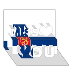 State Flag Of Finland  Miss You 3d Greeting Card (7x5)