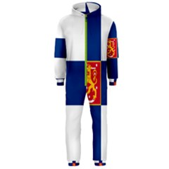 State Flag Of Finland  Hooded Jumpsuit (men)