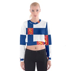 State Flag of Finland  Women s Cropped Sweatshirt