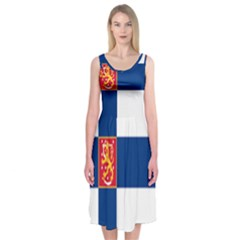 State Flag Of Finland  Midi Sleeveless Dress