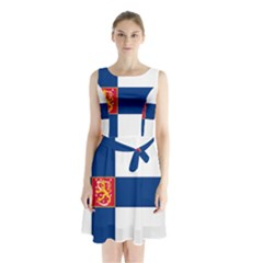 State Flag Of Finland  Sleeveless Waist Tie Dress