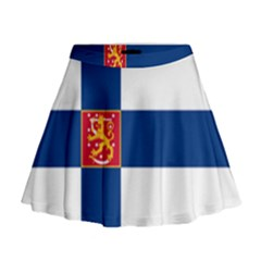 State Flag Of Finland  Mini Flare Skirt