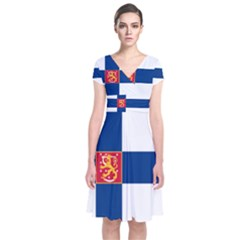 State Flag Of Finland  Short Sleeve Front Wrap Dress