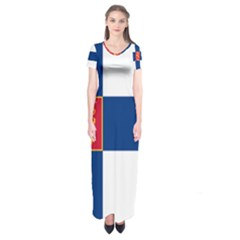 State Flag Of Finland  Short Sleeve Maxi Dress